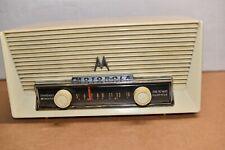 vintage MOTOROLA Mid Century Model 57X2 AM Tube Radio VOLUMATIC white cream