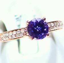 1.81CT 14K Gold Natural Tanzanite Round Cut White Diamond Deco Engagement Ring