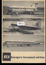 BEA BRITISH EUROPEAN 1962 TRIDENT VANGUARD COMET 4B EUROPE'S FOREMOST AD