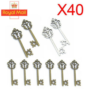 40x Vintage Santas Magic Antique Keys Fairy Angels Alloy Key Charms Collectables