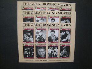 Sierra Leone boxing greats 2 styles lot of 5 5 sheets 8v each MNH OG