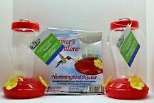 """Hummingbird 7"""" Hanging Feeder Starter Kit 2-Pack Bundle Plus Nectar"""