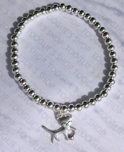 HANDMADE SILVER PLATED STACKING BEAD STRETCH BRACELET WITH CAT CHARM (067)