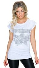 Kurzärmeliges Shirt -Famous- mit Glitzerprint - weiß