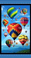 "23"" Fabric Panel - Digital Elizabeth's Studio Up In Air Hot Air Balloon"