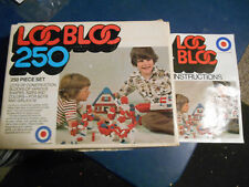 VINTAGE 1975 Entex LOC BLOC 250 Piece Set #1034 Building Blocks w/Box & Manual