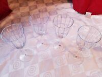 Hand Blown Wine Glasses Blue Vertical Stripe Paneled Bowl Sexy Stem Cute!