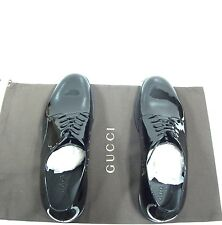 Gucci Men's Black Patent Leather Lace-up Shoes Gucci Size 10,5 US 11-11,5 NIB