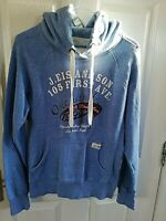 H&M LOGG MENS BLUE HOODIE FIRST AVENUE SIZE SMALL PIT TO PIT 19 LENGTH 26 INCH