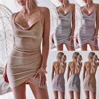 Women Strappy Bodycon Wrap Dress Backless Evening Party Cocktail Club Mini Dress