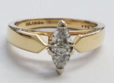 14 KARAT YELLOW GOLD ENGAGEMENT RING WITH TWO  TRILLION CUT DIAMONDS , SIZE 7