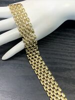 """Vintage Gold Open Mesh Style Square Link Bracelet 7.5"""" Link"""