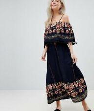 Brave Soul - Navy Kaylee Off Shoulder Maxi Dress with Tassel Size 8 Pet 78RN564