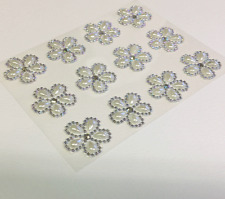 24 'SYNTEGO' PEARL WITH DIAMANTE EDGING SELF ADHESIVE FLOWERS approx 2.5cm dia