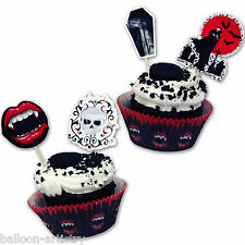 48 PEZZI VAMPIRO Bite sangue Halloween Festa Cupcake Decorazione KIT Pack Set
