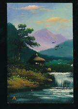 Japan hand painted stylised mountain river & rural scene c1920/30s? PPC fault