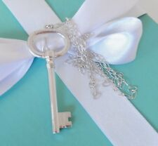 """Tiffany & Co Silver Large Oval Key Charm Pendant 24"""" Oval Link Chain Necklace"""