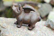 Gusseisen Schwein mit Flügeln Garten Deko Figur Metall