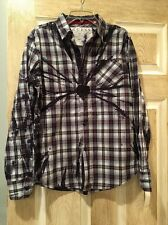 New Guess Dress Shirt, Boys, Long Sleeve, Blue And White Plaid, Size L (16-18)