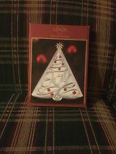 "Lenox JOY Metal Silver Tree Tray Christmas Holiday American Design 10"""