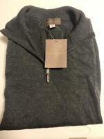 Thomas Dean Men's 1/4 Zip Mock Neck Sweater Black Size Medium M