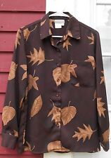 """COLDWATER CREEK Shades of Brown L/S Button Tunic Shirt Size P Small (42""""=Medium)"""
