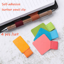 Stationery Pen Clips Pencil Elastic Loop Leather Self-adhesive Pens Holder