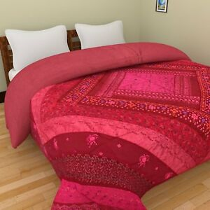 Vintage Handicrafts Assorted Embroidery Border Patchwork Maroon Bed cover Throw