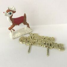 REINDEER Cake Topper Decoration AND GOLD Xmas Motto Merry Christmas Xmas
