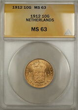 1912 Netherlands 10G Gulden Gold Coin ANACS MS-63