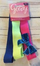 Goody Sparkle Bow Headwraps 3 Pieces 1 Bow-Pink Yellow Blue Glitter Bow NEW