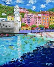 Cinque Terre ITALY Original Art PAINTING Artist DAN BYL Acrylic Huge 5ft by 4ft