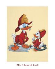 DISNEY ART PRINT - Fire Chief Donald Duck Fireman Firefighter Poster 16x20 - OOP