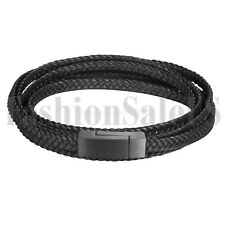 Stainless Steel Buckle Multilayer Braided Leather Bracelet Bangle Cord for Men