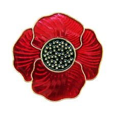 Deep Red Poppy Lapel Badge Brooch - Remembrance Sunday, Poppy Day, 11.11.11