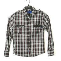 Daang Goodman Tripp NYC Mens Black Plaid Goth Snap Front Long Sleeve Shirt M