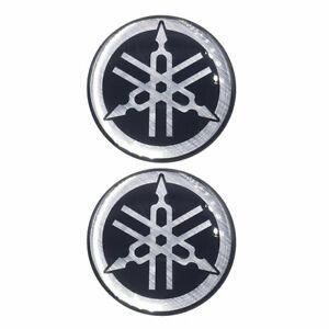 2 Adesivi in RESINA 3D Tondi YAMAHA DIAPASON Resinati 50 mm Nero-Grigio