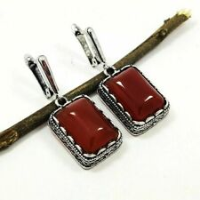 "CARNELIAN GEMSTONE SILVER PLATED RED LEVER BACK EARRING 1.6"" #SGJEAR1041"