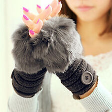 Lovely Women's Faux Rabbit Fur Hand Wrist Warm Knitted Fingerless Gloves 7 Color