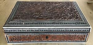 ANTIQUE BOX ANGLO INDIAN VIZAGAPATAM SANDALWOOD BOX circ 1870 For Restoration
