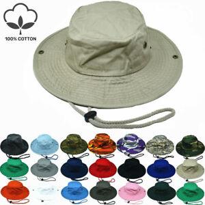 Unisex 100% Cotton Bucket Hat Fishing Camping Safari Boonie Sun Brim Summer Cap
