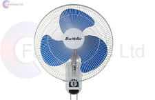 "QUALITY 16"" Wall Mounted Fan 3 Speed oscillate Hydrophonics Cooling Fan UK Plug"
