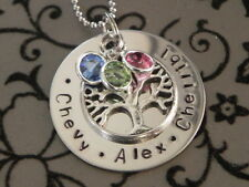 Personalised  Hand Stamped 3 Names / Birthstone Family Circle Tree Of Life Pend