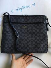 *NWT* Coach Outline Signature File Bag Crossbody Bag F58285 Black Smoke/Black