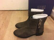 NEW Stuart Weitzman Winzipper Suede Ankle Boots- Brown-US Sz 7.5 EUR38 -RRP $845