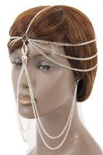 New Women Silver Metal Head Chain Spider Web Long Earrings Connested Net Jewelry