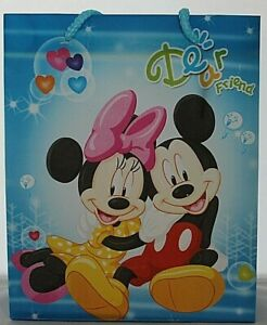 12 x Mickey & Minnie Mouse Reusable Gift/Party Favour Bags with Cord Handles