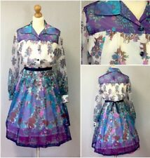 Authentic 70s Vintage Ladies Blue Floral Flare Rockabilly Shirt Dress U.K. 14/16
