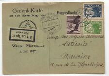 1927 Austria Airmail Postcard to Marseille with 3 Mixed Franking Airmail Stamps