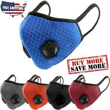 Breathable Nylon Mesh Dual Air Valve Face Mask Covering With PM2.5 Carbon Filter
